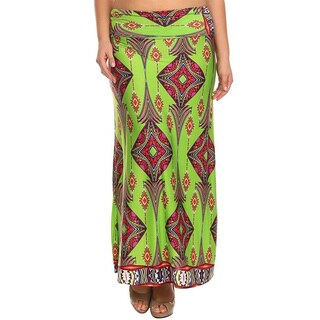 Moa Collection Women's Plus Size Diamond Print Maxi Skirt