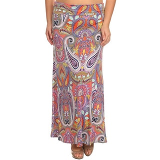 Moa Collection Women's Plus Size Pink Paisley Maxi Skirt