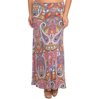 Moa Collection Women's Plus Size Pink Paisley Maxi Skirt (3 options available)