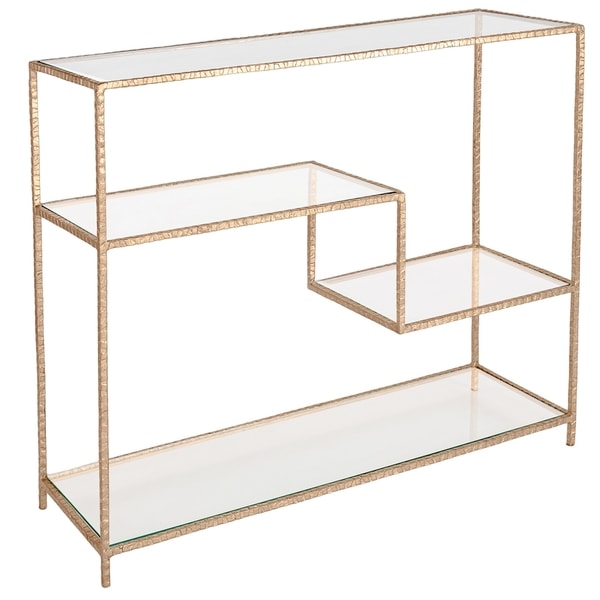 safavieh couture high line collection kristina gold leaf console table
