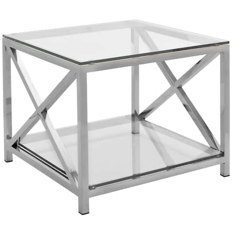 """SAFAVIEH Couture High Line Collection Hayward Stainless Steel Chrome End Table - 23.6"""" W x 23.6"""" L x 19.7"""" H"""