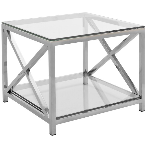 Safavieh Couture High Line Collection Hayward Stainless Steel Chrome End  Table