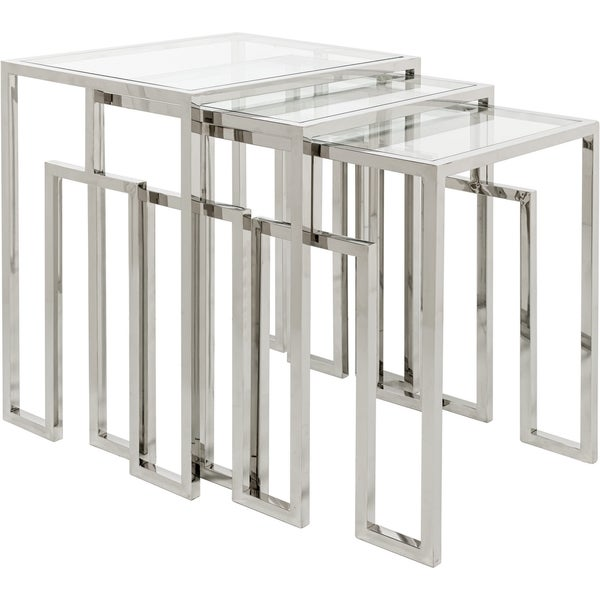 Safavieh Couture High Line Collection Theo Stainless Steel Nesting Tables  (Set Of 3)
