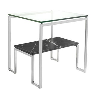 Safavieh Couture Collection Clinton Black/ White Marble Polished Stainless Steel End Table