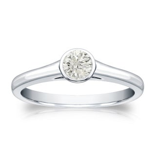 Auriya 14k Gold 1/4ct TDW Round Diamond Bezel Solitaire Engagement Ring