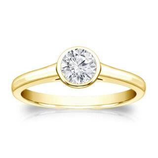Auriya 14k Gold 1/3ct TDW Round-cut Diamond Solitaire Bezel Engagement Ring (H-I, VS1-VS2)