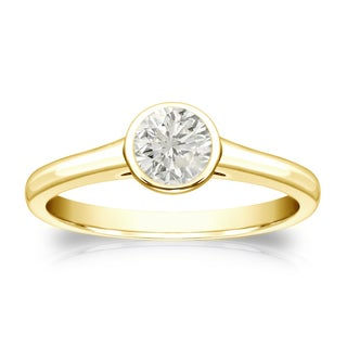 Round Bezel Set 1/3ct TDW Diamond Solitaire Engagement Ring in 14k Gold by Auriya