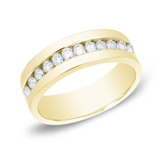 Auriya 14k Gold Men's 1 1/2ct TDW Round Channel-Set Diamond Ring Wedding Band (More options available)