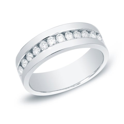 Auriya 14k Gold Men's 1 1/2ct TDW Round Channel-Set Diamond Ring Wedding Band