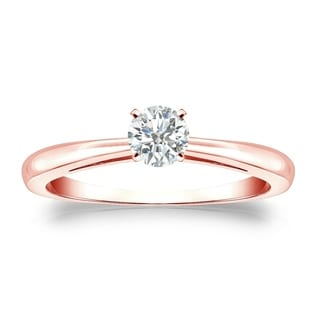 Auriya 14k Gold 1/4ct TDW Round-cut Diamond Solitaire Engagement Ring