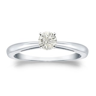 Auriya 14k Gold 1/4ct TDW Round-cut Diamond Solitaire Engagement Ring (J-K, I1-I2)