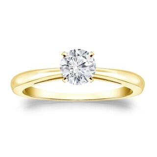Auriya 14k Gold 1/3ct TDW Round-cut Diamond Solitaire Engagement Ring (H-I, VS1-VS2)
