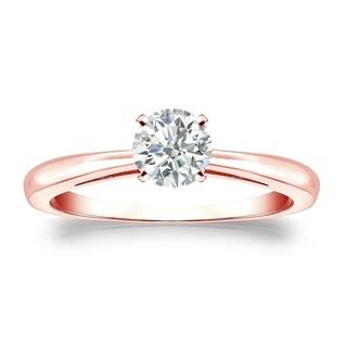 Auriya 14k Gold 1/3ct TDW Round-cut Diamond Solitaire Engagement Ring