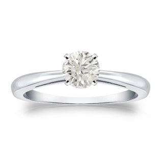 Auriya 14k Gold 1/3ct TDW Diamond Solitaire Engagement Ring (More options available)