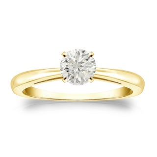 Auriya 14k Gold 1/3ct TDW Round-cut Diamond Solitaire Engagement Ring (J-K, I1-I2)