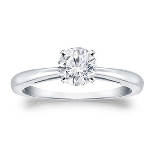 Auriya 14k Gold 1/2ct TDW Round-cut Diamond Solitaire Engagement Ring (H-I, VS1-VS2)