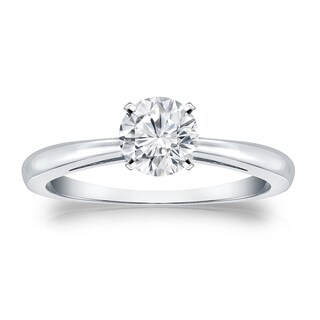Auriya 14k Gold 1/2ct TDW Round Diamond Solitaire Engagement Ring