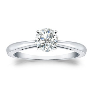 Auriya 14k Gold 1/2ct TDW Round-cut Diamond Solitaire Engagement Ring (I-J, SI2-SI3)