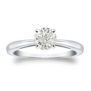Auriya 14k Gold 1/2ct TDW Round-cut Diamond Solitaire Engagement Ring (J-K, I1-I2)