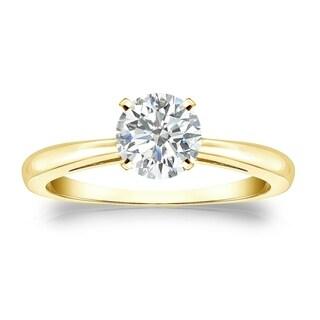 Auriya 14k Gold 3/4ct TDW Round-cut Diamond Solitaire Engagement Ring