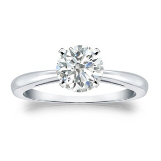 Auriya 14k Gold 1ct TDW Round-cut Diamond Solitaire Engagement Ring