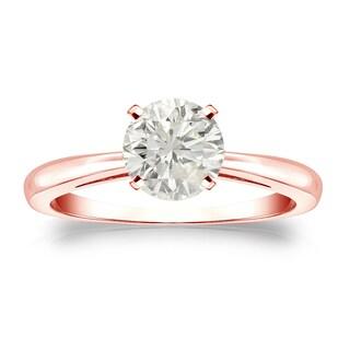 Auriya 14k Gold 1ct TDW Round-cut Diamond Solitaire Engagement Ring (J-K, I1-I2)