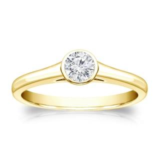 Auriya 14k Gold 1/4ct TDW Round-cut Diamond Solitaire Bezel Engagement Ring