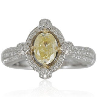 Suzy Levian 18K Two-Tone Gold and 1 5/8ct TDW Oval-Cut Fancy Yellow/ White Diamond Ring
