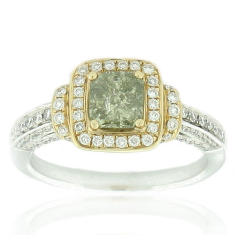 Suzy Levian Two-Tone 14k Gold and 1 1/2ct TDW Asscher-Cut Mint Green/ White Diamond Ring - Green
