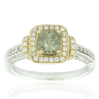 Suzy Levian Two-Tone 14k Gold and 1 1/2ct TDW Asscher-Cut Mint Green/ White Diamond Ring
