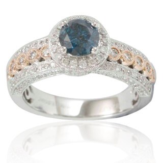 Suzy Levian Two-Tone 14k Rose and White Gold 1 5/8ct TDW Blue/ White Diamond Bridal Ring