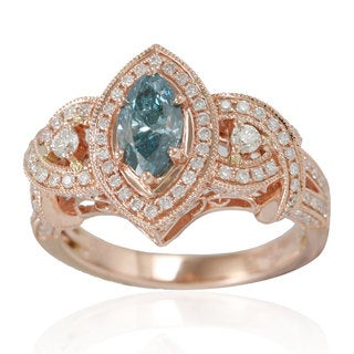 Suzy Levian 14k Rose Gold 1 1/2ct TDW Marquise-cut Blue/ White Diamond Ring
