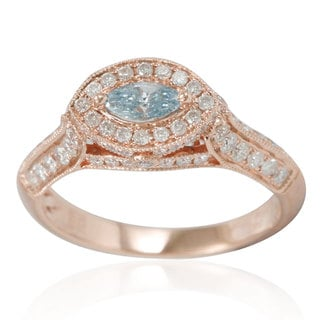Suzy Levian 14k Rose Gold 1ct TDW Blue/ White Diamond Marquise Ring