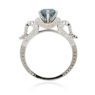 Suzy Levian 14k White Gold 1 7/8ct TDW Blue/ White Diamond Bridal Ring