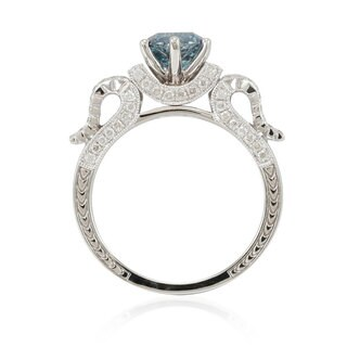 Suzy Levian 14k White Gold 1 7/8ct TDW Blue/ White Diamond Bridal Ring - Blue