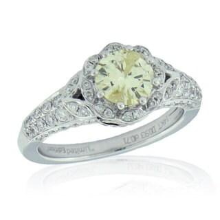 Suzy Levian 14k White Gold 1 5/8ct TDW White and Yellow Diamond Flower Design Bridal Engagement Ring