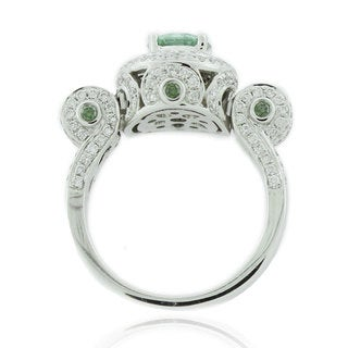 Suzy Levian 14k White Gold 1 7/8ct TDW Green and White Diamond Ring
