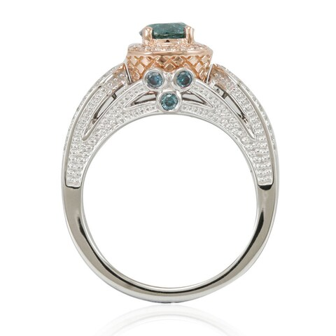 Suzy Levian 14k Two-Tone Gold 1 3/8ct TDW Greenish Blue/ White Diamond Engagement Ring - Green