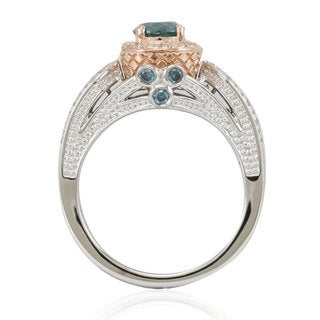 Suzy Levian 14k Two-Tone Gold 1 3/8ct TDW Greenish Blue/ White Diamond Engagement Ring