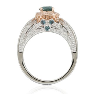 Suzy Levian 14k Two-Tone Gold 1 3/8ct TDW Greenish Blue/ White Diamond Engagement Ring (5 options available)