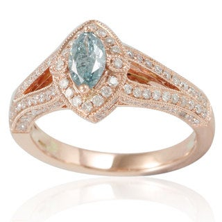 Suzy Levian 14k Rose Gold 1 1/6ct TDW Blue/ White Diamond Marquise Ring
