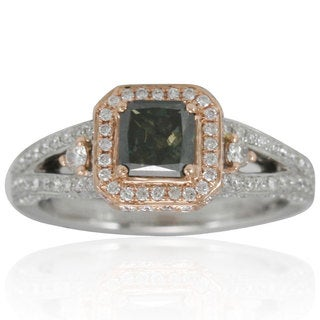 Suzy Levian 14k Two Tone White and Rose Gold 1 3/4ct TDW Asscher-cut Green/ White Diamond Ring