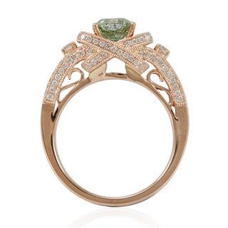 Suzy Levian 14k Rose Gold 1 7/8ct TDW Asscher-cut Mint Green/ White Diamond Ring