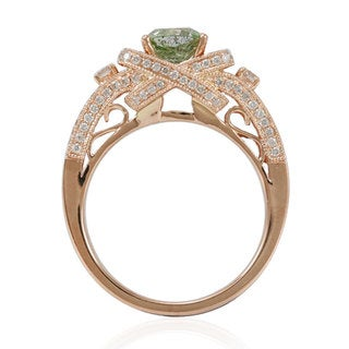 Suzy Levian 14k Rose Gold 1 7/8ct TDW Asscher-cut Mint Green/ White Diamond Ring (5 options available)