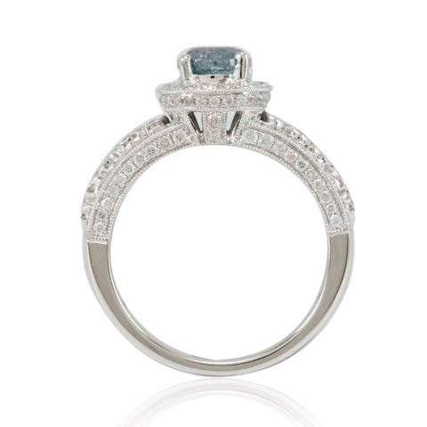 Suzy Levian 14k White Gold 1 4/5ct TDW Blue/ White Diamond Bridal Ring - Blue
