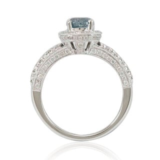 Suzy Levian 14k White Gold 1 4/5ct TDW Blue/ White Diamond Bridal Ring