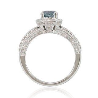 Suzy Levian 14k White Gold 1 4/5ct TDW Blue/ White Diamond Bridal Ring - Blue (5 options available)