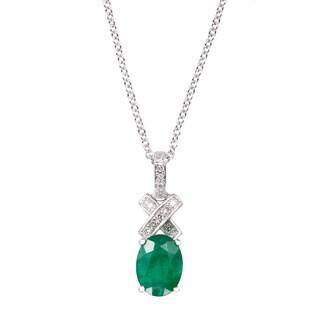 Effy Final Call 14k White Gold Emerald Diamond Accent Pendant