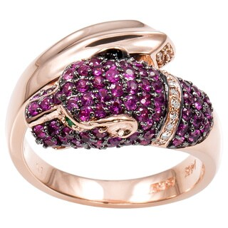 EFFY Final Call 14k Rose Gold Ruby and 1/8ct TDW Diamond Jaguar Ring (D-E,VS1-VS2) (Size 7.25)