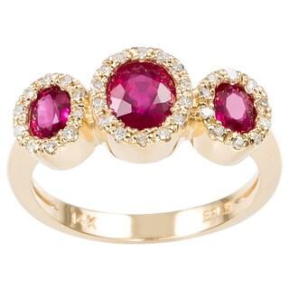 Effy Final Call 14k Gold 1/6ct TDW Diamond Ruby Ring (D-E,VS1-VS2)